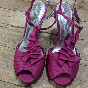 Fuschia Heels with Cascading Ribbon Design